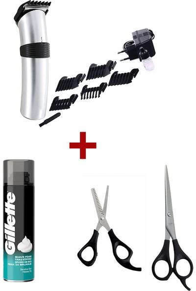 Shaver Profesyonel Şarjlı Saç Sakal Tüy Kıl Kesme Tıraş Makinesi Traş Makinası Seti, Gri Gilette Tıraş Köpüğü ve Ara Makas Seti Hediyeli