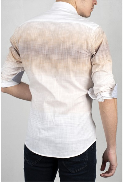 Deepsea Beyaz-Kahve Yeni Sezon Çizgili Uzun Kol Gömlek