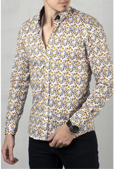 Deepsea Beyaz-Sarı Çiçek Desenli Uzun Kol Gömlek