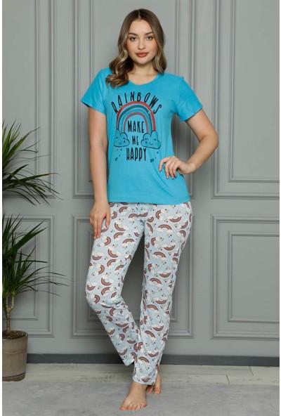 Akbeniz Kadın Penye Kısa Kol Pijama Takım 3384