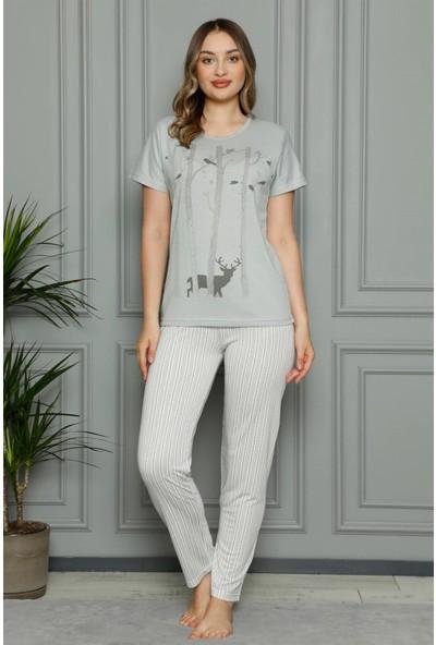 Akbeniz Kadın Penye Kısa Kol Pijama Takım 3385