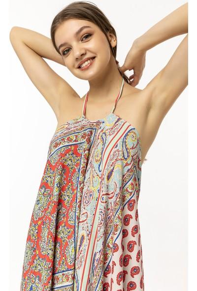 Coral Desenli Sırtı Açık Elbise Bej