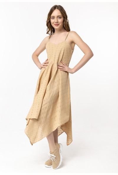Coral Askılı Lazerli Elbise Bej