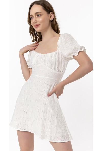 Coral Karpuz Kol Elbise Beyaz