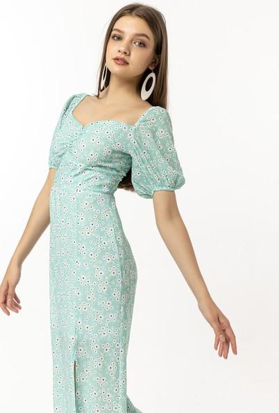 Coral Elbise Mint Yeşili