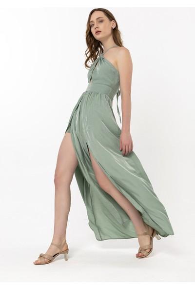 Coral Beli Kuşaklı Straplez Elbise Mint Yeşili