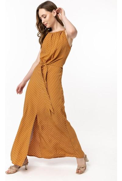 Coral Çizgili Bağcıklı Elbise Hardal