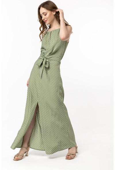 Coral Çizgili Bağcıklı Elbise Mint Yeşili