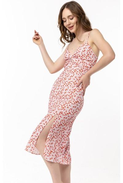 Coral Çiçek Desenli Askılı Elbise Pembe