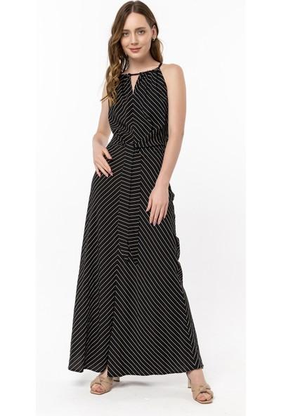 Coral Çizgili Bağcıklı Elbise Siyah