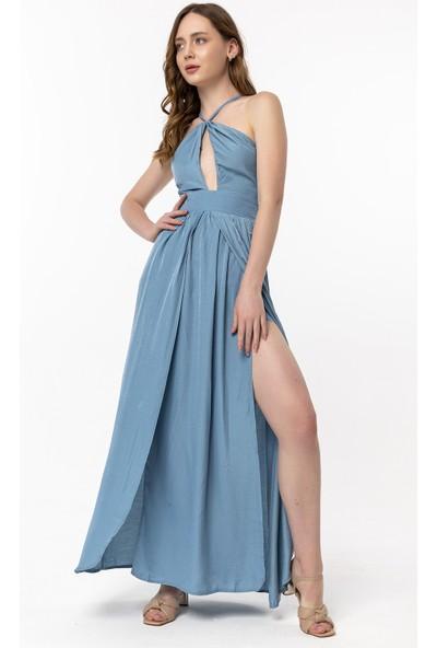 Coral Beli Kuşaklı Straplez Elbise Mavi