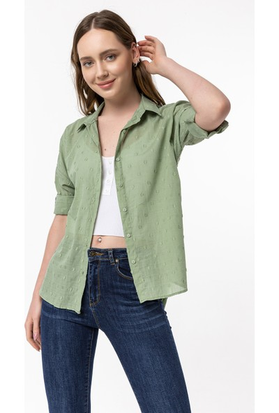 Coral Puantiyeli Gömlek Mint Yeşili