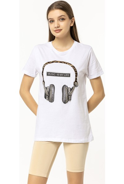 Coral Kulaklık Baskılı T-Shirt Beyaz
