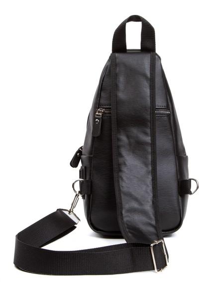 Leyl Yıkama Deri Göğüs Çantası Kulaklık ve Şarj Çıkışlı Tek Kol Çarpraz Mini Sırt Çanta Bodybag