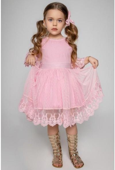 Riccotarz Kız Çocuk Prenses Güpürlü Pudra Elbise