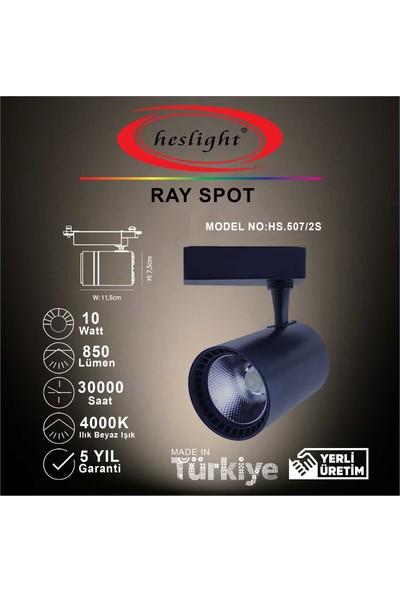 Heslıght HS.507/2S 10W Cob LED Ray Spot Siyah Kasa 4000K Ilık Beyaz Işık
