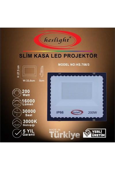 Heslight HS.756/3 200W Smd LED Projektör Slim Kasa 3000K Günışığı
