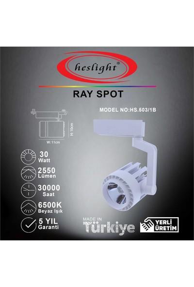 Heslight HS.503/1B 30W Cob LED Ray Spot Beyaz 6500K Beyaz Işık