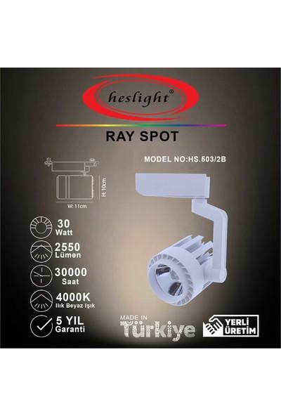 Heslight HS.503/2B 30W Cob LED Ray Spot Beyaz 4000K Ilık Beyaz Işık