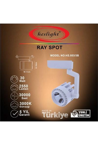 Heslight HS.503/3B 30W Cob LED Ray Spot Beyaz 3000K Günışığı
