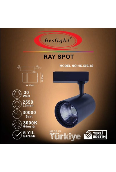 Heslıght HS.506/3S 30W Cob LED Ray Spot Siyah Kasa 3000K Günışığı