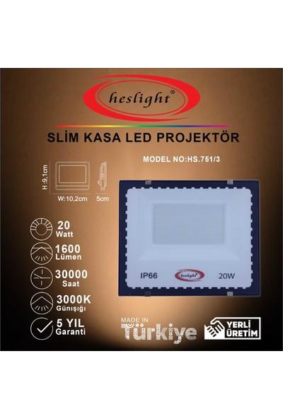 Heslight HS.751/3 20W Smd LED Projektör Slim Kasa 3000K Günışığı