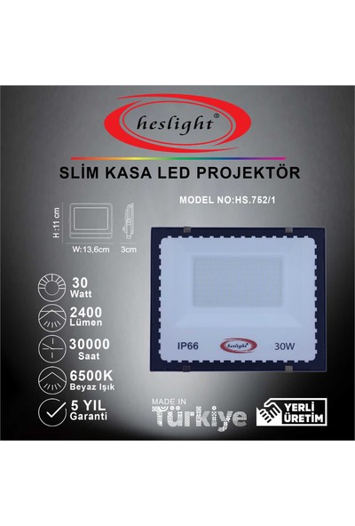 Heslight HS.752/1 30W Smd LED Projektör Slim Kasa 6500K Beyaz Işık