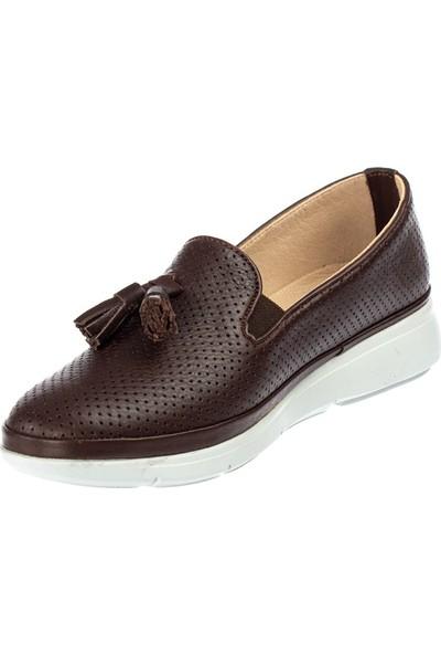 Celal Gültekin 45014 Kadın Kahverengi Deri Ayakkabı