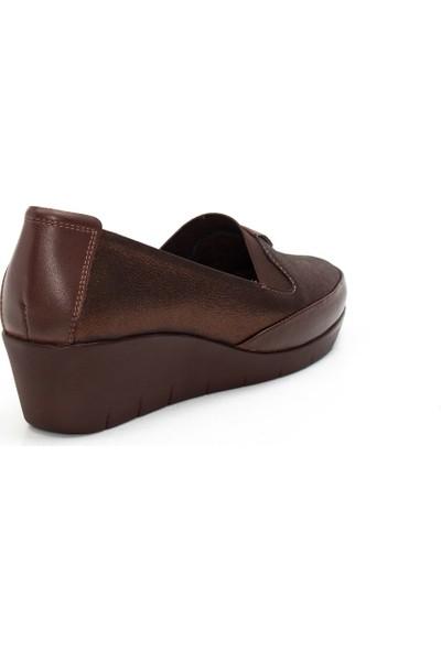 Celal Gültekin 420 Kadın Simli Günlük Kahverengi Deri Ayakkabı
