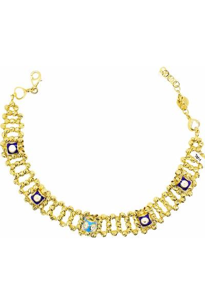 Cigold 14 Ayar Altın Taşlı Bileklik 18K1BLK0970026075