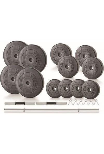 Uzunay Spor Uzunay Black 75 kg Dambıl Halter Ağırlık Seti