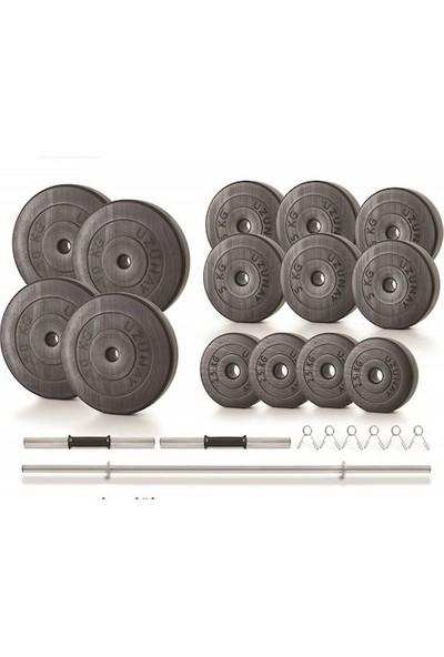 Uzunay Spor Uzunay Black 85 kg Dambıl Halter Ağırlık Seti