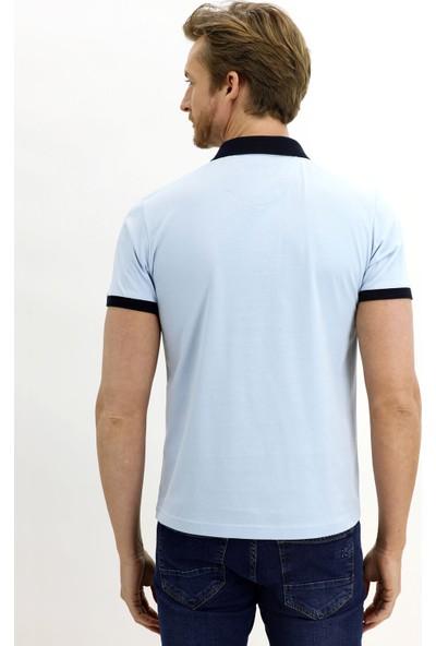 Kiğılı Polo Yaka Desenli Slim Fit T-Shirt