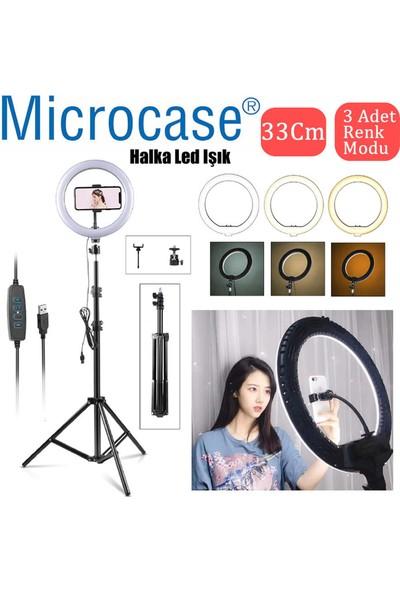 Microcase 33 cm Youtube Instagram Tiktok Selfie LED Halka Işık + 2.1 mt Tripod + Bluetooth Kumanda - AL2644