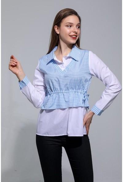 Joyin Joy Kadın Mavi Pötikareli Gizli Bağcıklı Gömlek