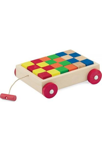 Onyıl Oyuncak Ahşap Renkli Küp Bloklu Araba (25 Parça)