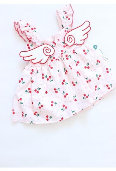 Denito Kirazlı Kanatlı Elbise 1 Yaş Beyaz Pembe