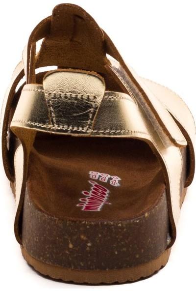 Minipicco Çocuk Altın Deri Anatomik Destekli Çocuk Sandalet