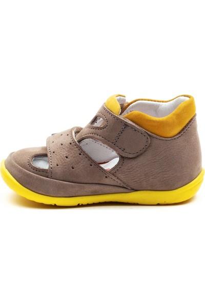 Minipicco Erkek Cocuk Gri-Sarı Deri Anatomik Destekli Ilk Adım Ayakkabı