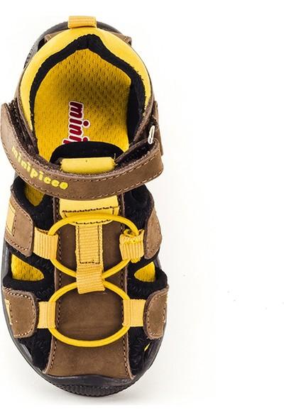 Minipicco Çocuk Kahve-Sarı Deri Anatomik Destekli Çocuk Sandalet