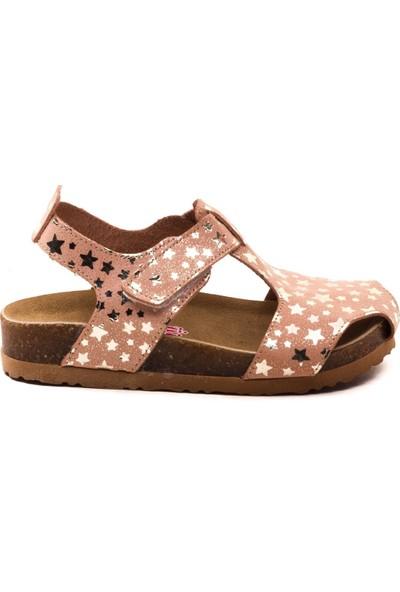 Minipicco Çocuk Yıldızlı Pudra Deri Anatomik Destekli Çocuk Sandalet