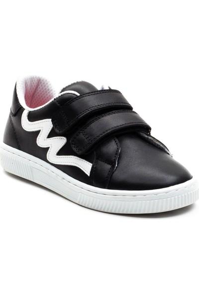 Minipicco Çocuk Siyah Deri Anatomik Destekli Spor Ayakkabı
