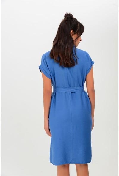 New Laviva Kısa Kollu Düğmeli Cepli Indigo Kadın Elbise