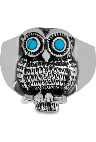 Candie Silver Firuze Taşlı Baykuş Model Gümüş Erkek Yüzük