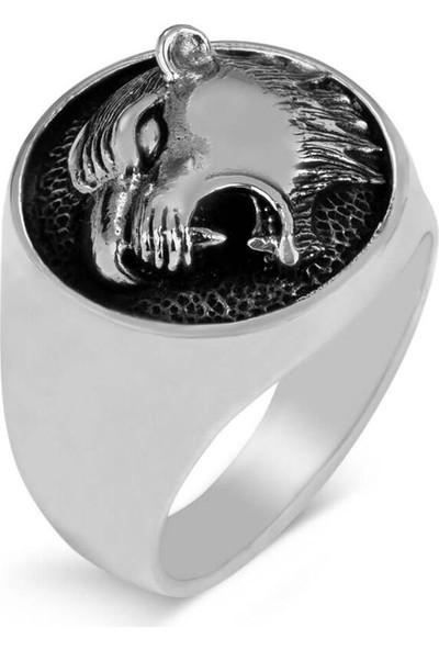 Candie Silver Kaplan Figürlü Gümüş Erkek Yüzük