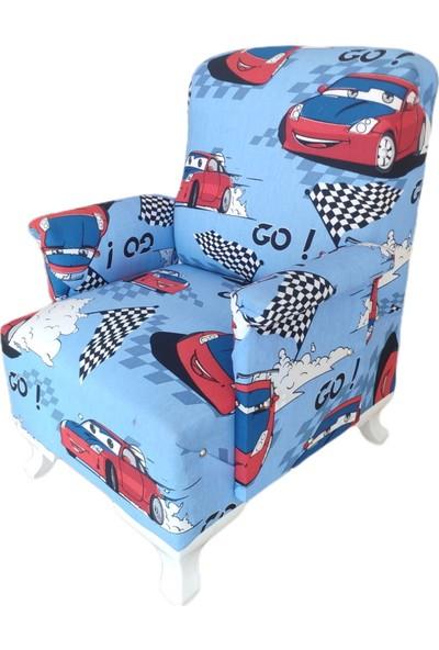 Defne Çocuk Koltuğu Bebek Odası Koltuk Mavi Arabalı Küçük ve Şık