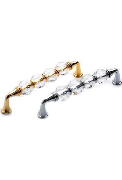 Hmd Mobiya Hırdavat Kristal Altın Şeffav Mobilya Kulp