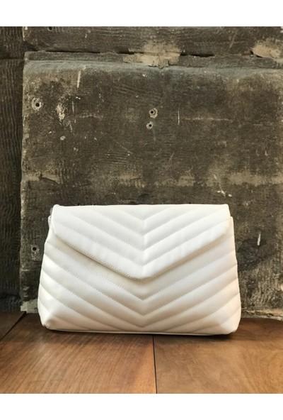 Luxury Beyaz Zincirli Çanta