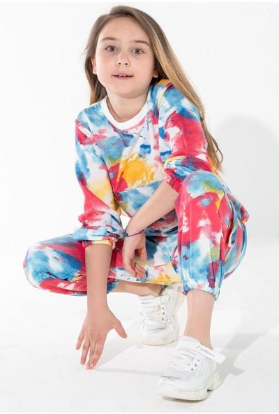 Zepkids Kız Çocuk Eşofman Takımı Kapüşonlu Batik Desenli 6-9 Yaş