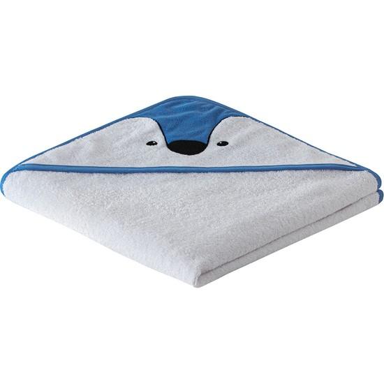 Yataş Bedding Pingu Kundak Havlu %100 Pamuk Kundak Havlusu 450 Gr/m² Kundak Havlusu Mavi Biyeli Kundak Havlusu Mavi ve Beyaz 75 x 75 cm